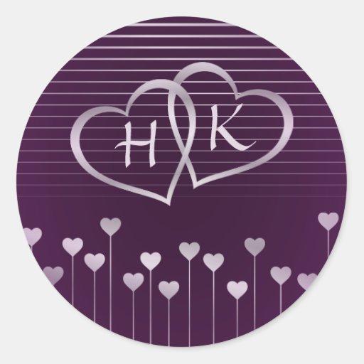 Purple & Silver Monogram Heart Sticker