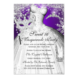 "Purple & Silver Princess Masquerade Sweet 16 5"" X 7"" Invitation Card"