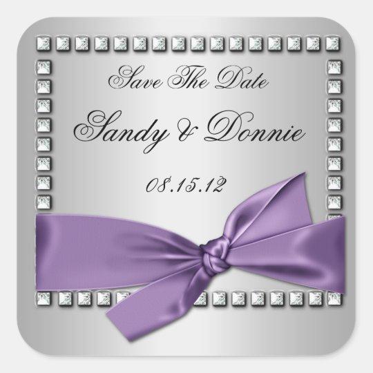 Purple Silver Ribbon Diamonds Save The Date Sticke Square Sticker