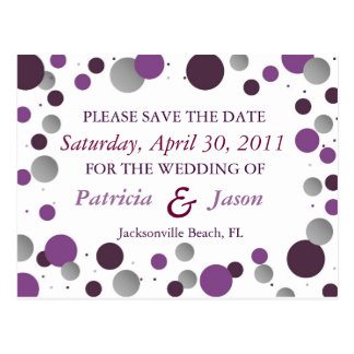 Purple & Silver Save the Date Postcard