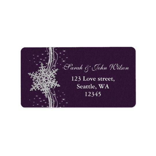 purple Silver Snowflakes Winter address label