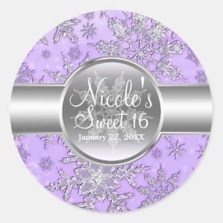 Purple Silver Snowflakes Winter Wonderland Party Classic Round Sticker