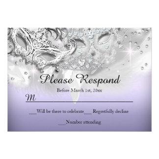 Purple Silver Sparkle Masquerade RSVP Reply Personalized Invite