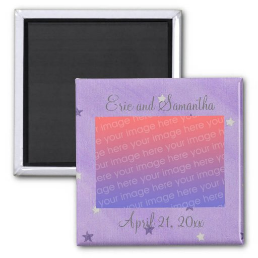 Purple Silver Stars, Save the date photo magnets
