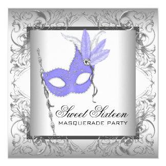 """Purple Silver Sweet 16 Masquerade Party 5.25"""" Square Invitation Card"""