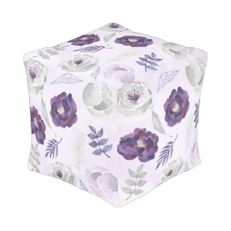 Purple Silver Watercolor decor foot stool 3963 Pouf