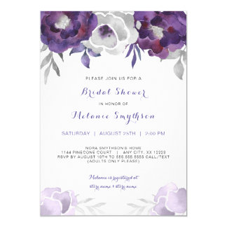Purple Silver Watercolor Floral bridal shower 3963 Card