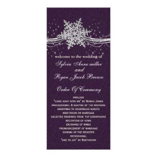 purple Silver  wedding programs tea length Customized Rack Card