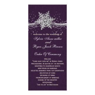 purple Silver  wedding programs tea length Personalized Rack Card