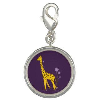 Purple Skating Funny Cartoon Giraffe Charm