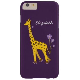 Purple Skating Funny Cartoon Giraffe Name Barely There iPhone 6 Plus Case