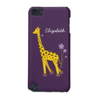 Purple Skating Funny Cartoon Giraffe Personalized iPod Touch (5th Generation) Case