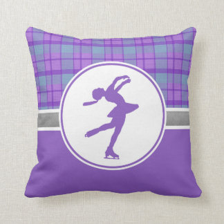 Purple Skating Sweetheart Plaid Throw Pillow