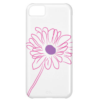 Purple Sketched Flower Cover For iPhone 5C
