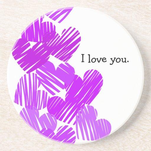 "Purple sketchy Hearts ""I love you"" coaster"