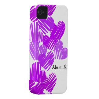 Purple sketchy Hearts + Name BlackBerry Bold Case
