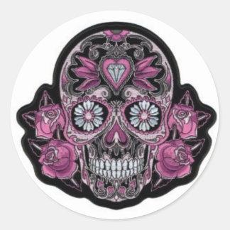 Purple Skull & Roses Round Sticker