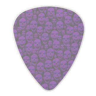 Purple Skulls On Black Polycarbonate Guitar Pick