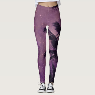 Purple Sky Palm Leggings