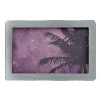 Purple Sky Palm Rectangular Belt Buckle