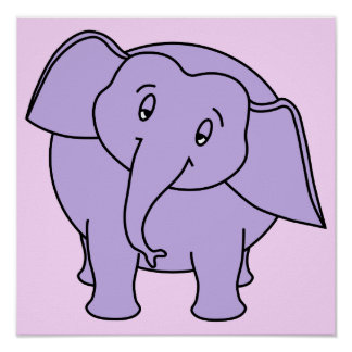 Purple Sleepy Elephant. Cartoon Poster