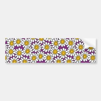 Purple Smiley Daisy Flower Pattern Bumper Sticker