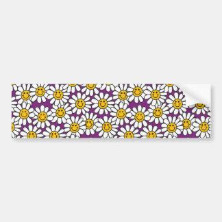 Purple Smiley Daisy Flower Pattern Bumper Sticker