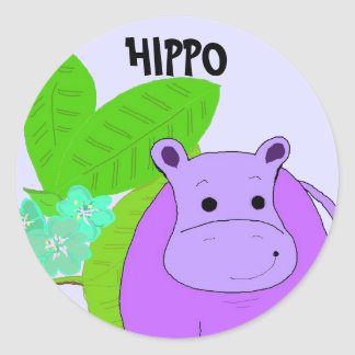 Purple Smiling Hippo Round Sticker