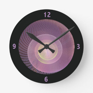 Purple Snail Shell Fractal Clock with Numbers