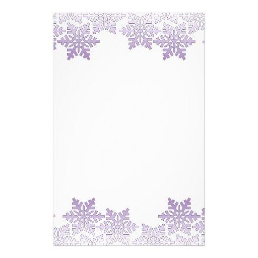 Purple Snowflake Border Customized Stationery