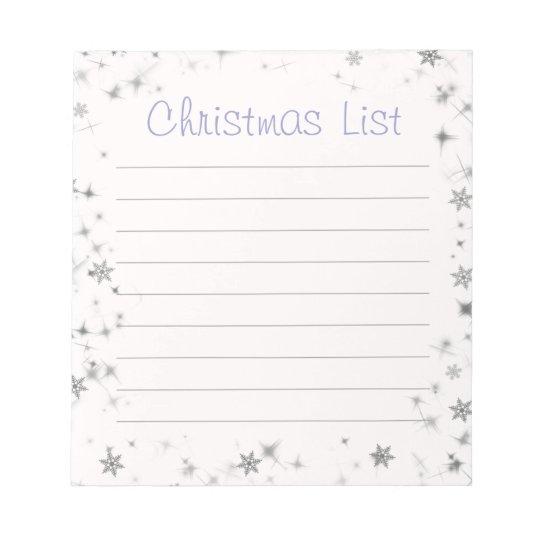 Purple Snowflake Christmas List Notepad