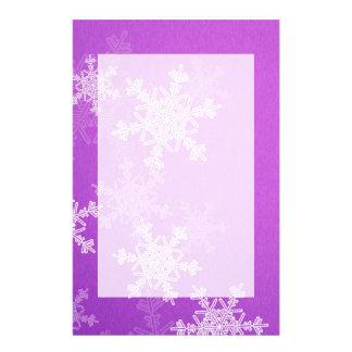 Purple Snowflakes Christmas Stationery