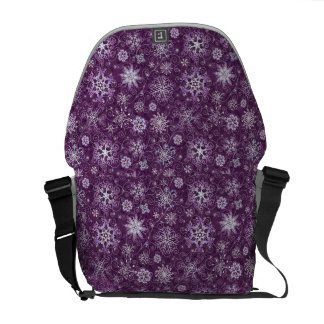 Purple Snowflakes for Chronic Pain Courier Bags