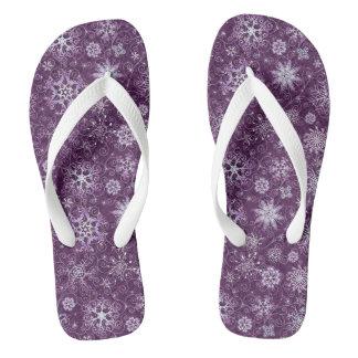 Purple Snowflakes for Chronic Pain Flip Flops