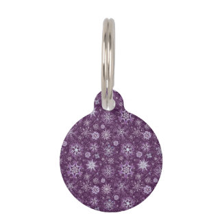 Purple Snowflakes for Chronic Pain Pet ID Tag