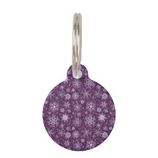 Purple Snowflakes for Chronic Pain Pet Name Tags