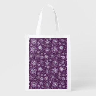 Purple Snowflakes for Chronic Pain Reusable Grocery Bag