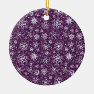 Purple Snowflakes for Chronic Pain Round Ceramic Ornament