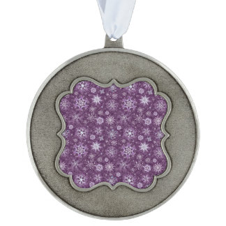 Purple Snowflakes for Chronic Pain Scalloped Pewter Ornament