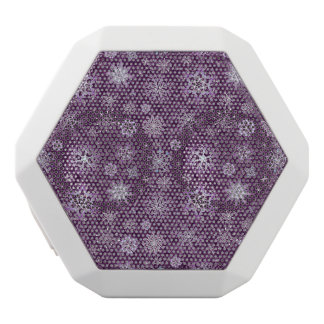 Purple Snowflakes for Chronic Pain White Bluetooth Speaker