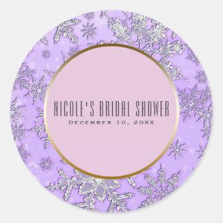 Purple Snowflakes Pink Winter Wonderland Favor Classic Round Sticker
