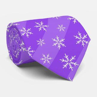 Purple Snowflakes Stripes Christmas Tie