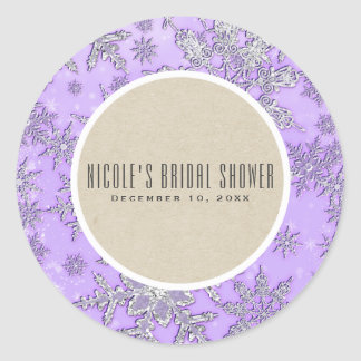 Purple Snowflakes Winter Wonderland Rustic Favor Classic Round Sticker