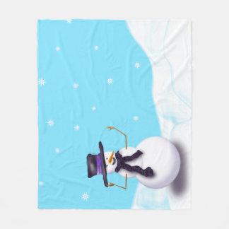 Purple Snowman Fleece Blanket