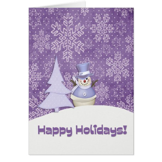Purple Snowman Snowflakes Card