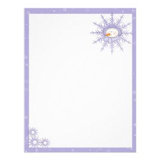 Purple Snowman Snowflakes Custom Letterhead