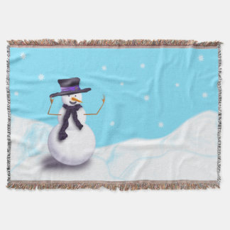 Purple Snowman Throw Blanket