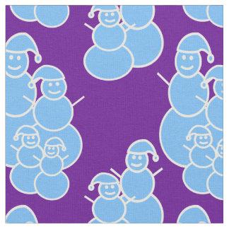 Purple Snowmen Fabric