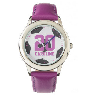 Purple Soccer Ball Girl's Watch
