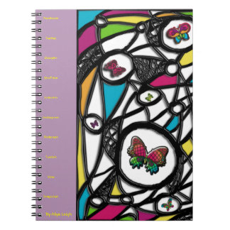 Purple Social Butterfly  By Aliya Leigh Spiral Notebooks